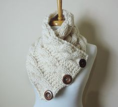 Chunky Hand Knit Scarf in Cream Buttoned Cowl by orangeknitting
