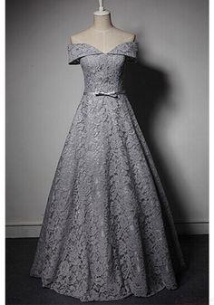 Elegant Off Shoulder Lace Knot Floor Length   Prom Dresses  Evening Dresses  (ED1458)