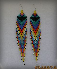 Long Indian style beads earrings tribal style boho by Olisava Beaded Earrings Patterns, Seed Bead Patterns, Beading Patterns, Seed Bead Necklace, Seed Bead Jewelry, Tribal Style, Brick Stitch Earrings, Boho Stil, Bead Earrings