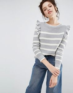 Buy Willow and Paige Ribbed Jumper In Breton Stripe With Shoulder Ruffle at ASOS. Get the latest trends with ASOS now. Asos, Knit Fashion, Fashion Outfits, Moda Crochet, Pijamas Women, Ruffle Shirt, Ruffle Top, Ribbed Sweater, Cozy Sweaters