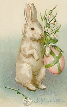 Free freebie printable vintage easter postcard, easter bunny rabbit with Easter egg. Tons of Easter postcards at this website
