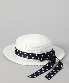 Take a look at this White Polka Dot Ribbon Straw Sunhat by Jayne Copeland on #zulily today!