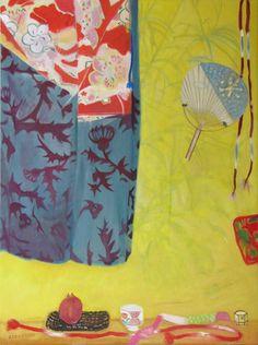False Palm (Shadow) and Kimono, OIl on canvas, Elizabeth Blackadder - The Scottish Gallery, Edinburgh - Contemporary Art Since 1842