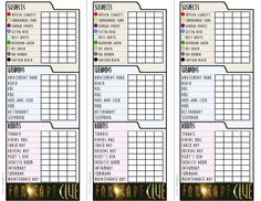 Clue Game Sheets 6 Images of Free Print...