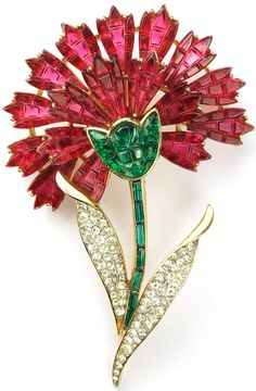 Trifari 'Alfred Philippe' Gold Pave and Invisibly Set Emeralds and Rubies Carnation Flower Pin