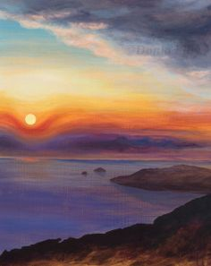 "Sunrise, clouds, sea, sky: art metal print of acrylic painting by Kauai artist Donia Lilly ""Oneando"" - http://DoniaLillyFineArt.etsy.com or see more of Donia's original travel paintings at http://DoniaLilly.com"