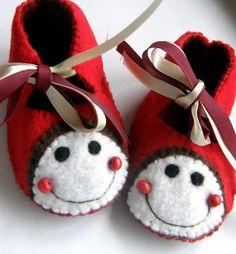 Ladybird Baby Booties by TheCraftyButtonUK on Etsy, £9.00