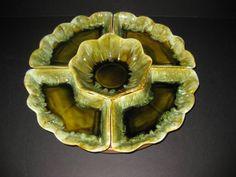 Stoneware Chip and Dip Bowl   Retro Lazy Susan, Chip and Dip, Avocado Drip Glaze, 5 sections plus ...