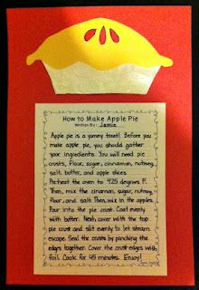 Have children tell in their own words how to make an apple pie.  So funny!///Johnny Appleseed Craft and Writing Activity - How To Make Apple Pie
