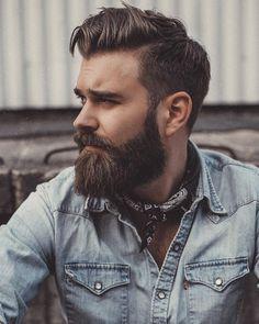 Beard and hair style. Bandana with denim shirt.