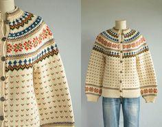 Vintage Nordic Wool Fair Isle Cardigan / Hand Knit by zestvintage, $98.00