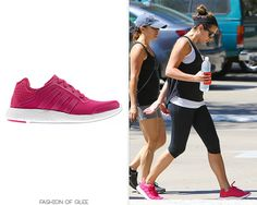 Lea Michele goes for a hike, Los Angeles, September 2, 2014 Adidas Pure Boost Sneakers - $120.00 Worn with: Lululemon headband, Ray-Ban sunglasses, Jane Basch necklace Shop more hot pink sneakers: //