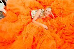 All orange everything at Giambattista Valli Fall 2015 Couture