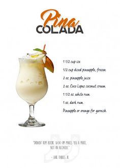 "Want a metal print copy?: Visit Store Description: Popular Bar Cocktails Piña Colada artwork by artist ""Swav Cembrzynski"". Liquor Drinks, Cocktail Drinks, Fun Drinks, Yummy Drinks, Beverages, Fruity Drinks, Malibu Rum Drinks, Coconut Rum Drinks, Drinks With Rum"
