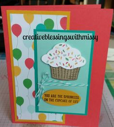 #RMHC, #Incolors2015, #Birthday, #Sprinklesoflife, #cherryontop, #creativeblessingswithmissy Cupcake Party, Birthday Cupcakes, 2nd Birthday, Birthday Cards, Cupcake Images, Stamp Sets, Kids Cards, Homemade Cards, Sprinkles