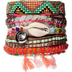 Hipanema Mexico Friendship Bracelet ($33) ❤ liked on Polyvore featuring jewelry, bracelets, accessories, pulseiras, blue multi, multicolor jewelry, magnetic jewelry, multi colored jewelry, colorful bangles and tri color bangles