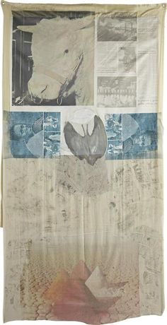 cinoh: © Robert Rauschenberg /Ringer, from Hoarfrost Editions,.1974 Offset lithograph and screenprint in colors, to collage of paper bag, c...