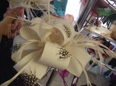 Beautiful Cream / Brown Feather & Bow Fascinator.