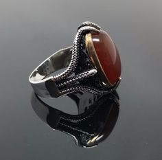 Unique 925k Solid Sterling Silver Agate Elegant Men's Ring -US Seller I1A