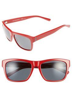 Women's Burberry 'Check Plaque' 58mm Sunglasses - Red