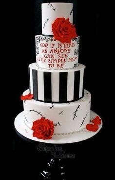 Halloween Wedding Cakes, Christmas Wedding Cakes, Halloween Cakes, Naked Wedding Cake, Gothic Wedding Cake, Camo Wedding, Dream Wedding, Perfect Wedding, Wedding Rings