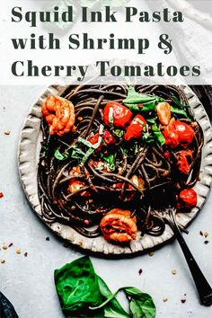 This recipe for Squid Ink Pasta with Shrimp & Cherry Tomatoes only looks fancy. It's easy to make in under 30 minutes and the flavor is delicious! #pasta #squidinkpasta #easydinner #squidinklinguini via @platingspairing Chicken Pasta Recipes, Risotto Recipes, Healthy Pasta Recipes, Healthy Pastas, Spaghetti Recipes, Cooking Recipes, Noodle Recipes, Rice Recipes, Squid Ink Spaghetti