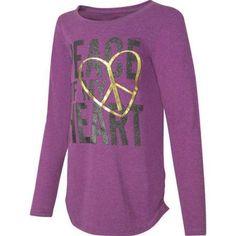 Hanes Girls' Printed Long Sleeve Shirttail T-shirt, Size: Large, Purple