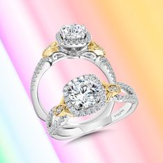 Your differences are what make your love story truly beautiful. Symbolize these differences with a unique mixed-metal engagement ring.#Valina #diamonds #bridalinspo #proposalideas #bridal #engagementringideas #diamondrings #engagementrings #2021wedding #2021bride #2021weddings #2021bridetobe #whitegold #yellowgold #twotoned #mixedmetaljewelry #modernengagementring #modernjewelry #yellowgoldjewelry #mixedmetal #mixedmetals #haloengagementring #halo #diamondhalo #haloring #cushionhalo Classic Engagement Rings, Halo Engagement, Halo Diamond, Diamond Rings, Modern Jewelry, Fine Jewelry, Cushion Halo, Mixed Metal Jewelry, Halo Rings