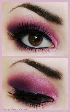 Pink and purple smokey eye with beautiful sculpted brows. Great idea for dramatic eye make-up without using traditional black. Pretty Makeup, Love Makeup, Makeup Tips, Makeup Looks, Hair Makeup, Makeup Ideas, Makeup Style, Sweet Makeup, 60s Makeup