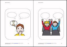 """MATERIALES .- Imágenes para hablar: Libro 2.  Basado en la teoría de la mente y partiendo de una imagen, se trata de completar los """"bocadillos"""", bien a nivel oral o escrito, relacionándolo con rutinas, experiencias, situaciones vividas… http://arasaac.org/materiales.php?id_material=1179"""