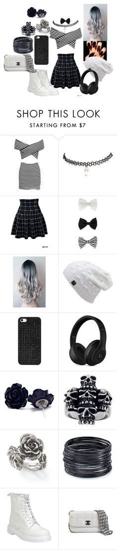 """Black & Withe"" by aria-marie-benavidez on Polyvore featuring moda, Wet Seal, Accessorize, BaubleBar, Beats by Dr. Dre, Natures Jewelry, ABS by Allen Schwartz, Dr. Martens y Chanel"