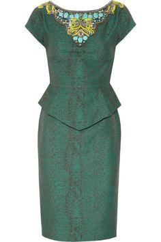 Matthew Williamson|Embellished cotton-blend peplum dress|NET-A-PORTER.COM