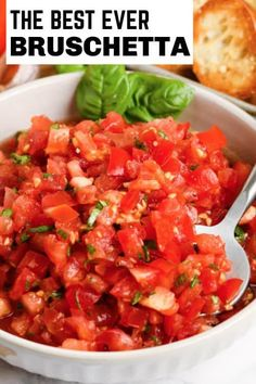 Garden Fresh Bruschetta is a fresh, delicious appetizer that only takes minutes to make! Serve with crostini, baguette bread or crackers! #spendwithpennies #gardenfreshbruschetta #recipe #appetizer #easy #best Side Recipes, New Recipes, Cooking Recipes, Favorite Recipes, Healthy Recipes, Bite Size Appetizers, Yummy Appetizers, Appetizer Recipes, Dinner Recipes