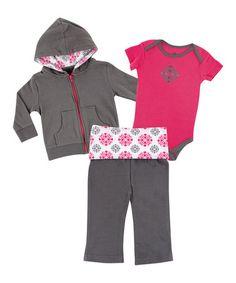 Pink & Gray Medallion Hoodie Set #zulily #zulilyfinds
