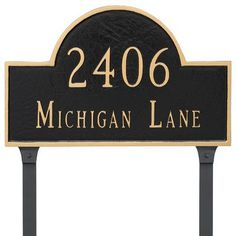 Montague Metal Products Classic Arch Estate Two Line Address Plaque Finish: Navy/Silver