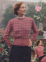 vintage ladies twin set cardigan and jumper knitting pattern check pattern 1950s
