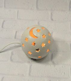 Starry Nights Nursery Light Moon and Stars Lamp White