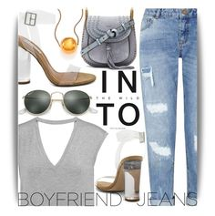 """Boyfriend Jeans"" by maranella ❤ liked on Polyvore featuring Miss Selfridge, Bailey 44, Steve Madden, Ray-Ban, Chloé, STELLA McCARTNEY and boyfriendjeans"