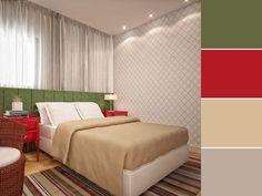 20 paletas de cores para quarto de casal para usar na decoração Home Design Decor, House Design, Home Decor, Color Combinations, Color Schemes, Double Room, Living Room, Bed, Furniture