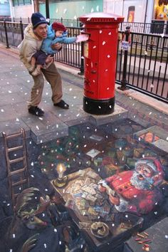 Santa's private mailbox. Whimsical interactive sidewalk 3-D chalk street art.