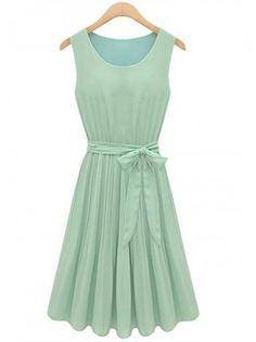 Summer Pleated Mint Dress