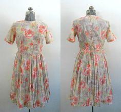 1960s Vintage Voile Dress // Coral Floral by rileybellavintage, $59.00