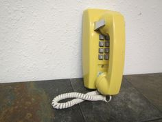 Vintage  Western Electric Push Button Wall TELEPHONE, Bell System  phone   *  yellow  * Land line Phone  81058 * by mauryscollectibles on Etsy