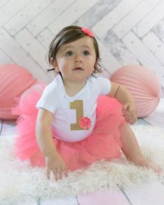 Coral and Gold Baby Girl's First Birthday Outfit -  Shabby Chic Bodysuit, Tutu and Headband - Coral and Gold Number 1 Birthday Outfit