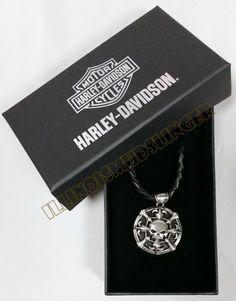 Mens Harley-Davidson Willie G Skull Fleur-de-Lis Pendant Necklace by LODIS