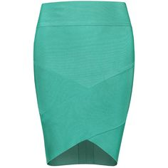 POSH GIRL Grace High Waist Bandage Mini Skirt ($88) ❤ liked on Polyvore featuring skirts, mini skirts, bottoms, green, multi, blue skirt, green skirt, bandage skirt, high waisted short skirts and short skirts