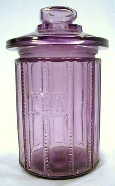 Antique Tea Jar Amethyst Purple Glass Container Pot Cookie Apothecary Drug Store | eBay