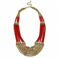gold/red beaded necklace