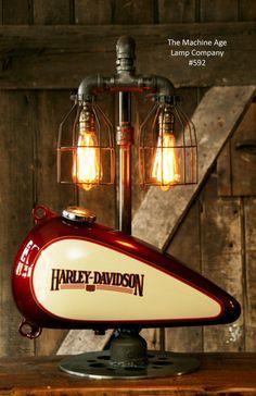 Steampunk Industrial Lamp, Harley Davidson Motorcycle Gas Tank - New Ideas Vintage Industrial Decor, Vintage Lighting, Industrial Lamps, Industrial Farmhouse, Rustic Lighting, Industrial Furniture, Automotive Furniture, Automotive Decor, Pipe Furniture