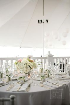 White wedding tent/ Belle Haven Club/ Greenwich, CT wedding
